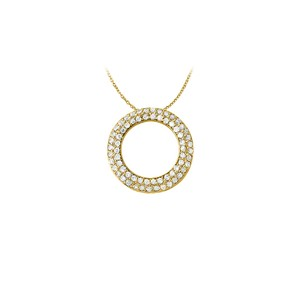 Marco B April Birthstone Cubic Zirconia Pretty Circle Pendant in Yellow Gold V