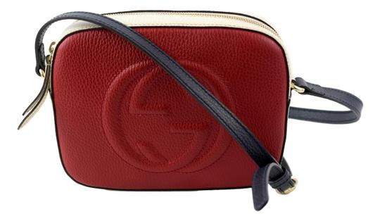 ba4ad585e6b1 gucci soho 431567 disco red blue and white pebbled leather cross body bag  35% off re.