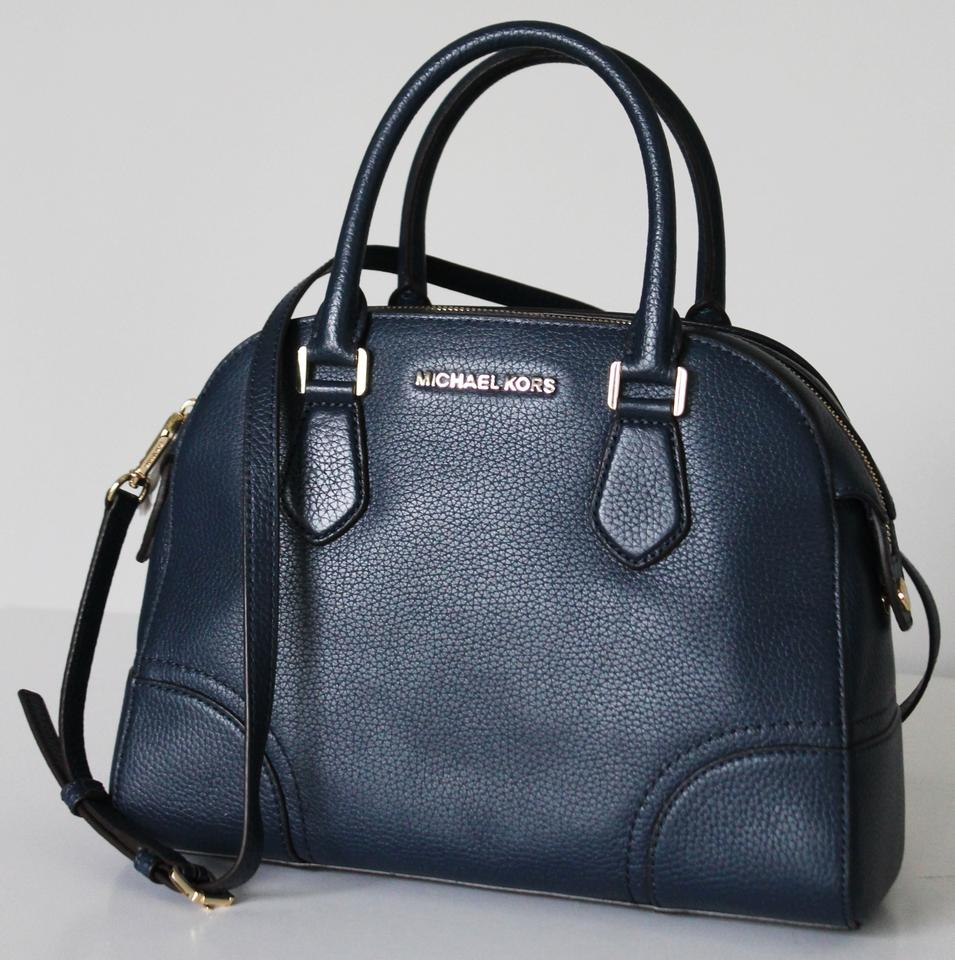 993bd8f44af4 Michael Kors Hattie Bowling Navy Pebbled Leather Satchel - Tradesy