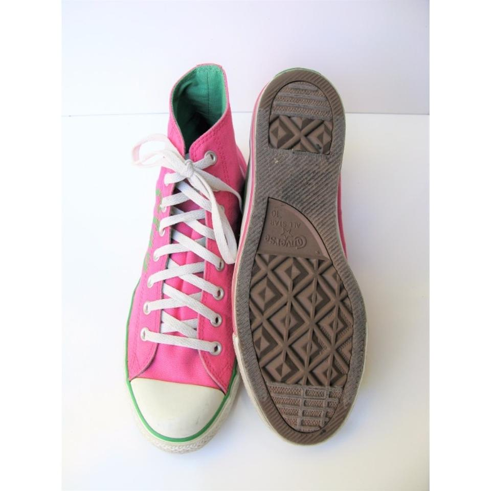 Converse Pink   Green All Star Canvas High Tops 10m  12w Sneakers ... 89c83e109