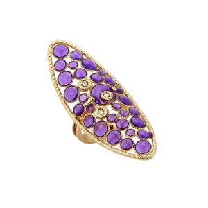 Roberto Coin Diamond Purple Enamel 18k Yellow Gold Long Finger Ring