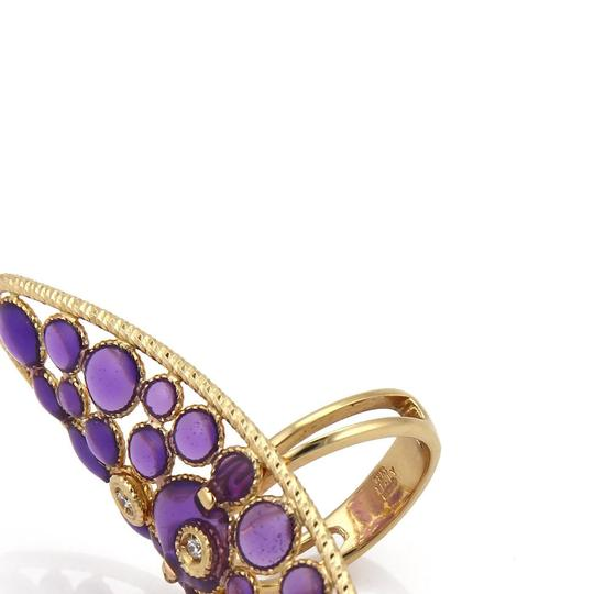Roberto Coin Diamond Purple Enamel 18k Yellow Gold Long Finger Ring Image 2