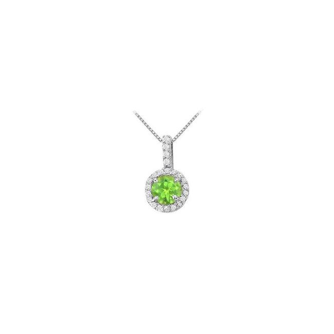 Green Silver Fancy Round Peridot and Cubic Zirconia Halo Pendant Necklace Green Silver Fancy Round Peridot and Cubic Zirconia Halo Pendant Necklace Image 1