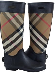 Burberry Rain Check Rain Black Boots