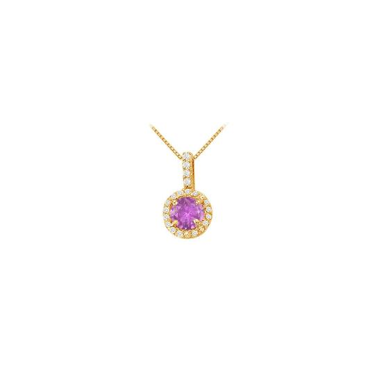 Preload https://img-static.tradesy.com/item/22603741/purple-yellow-fancy-round-amethyst-and-cubic-zirconia-halo-pendant-in-gold-necklace-0-0-540-540.jpg
