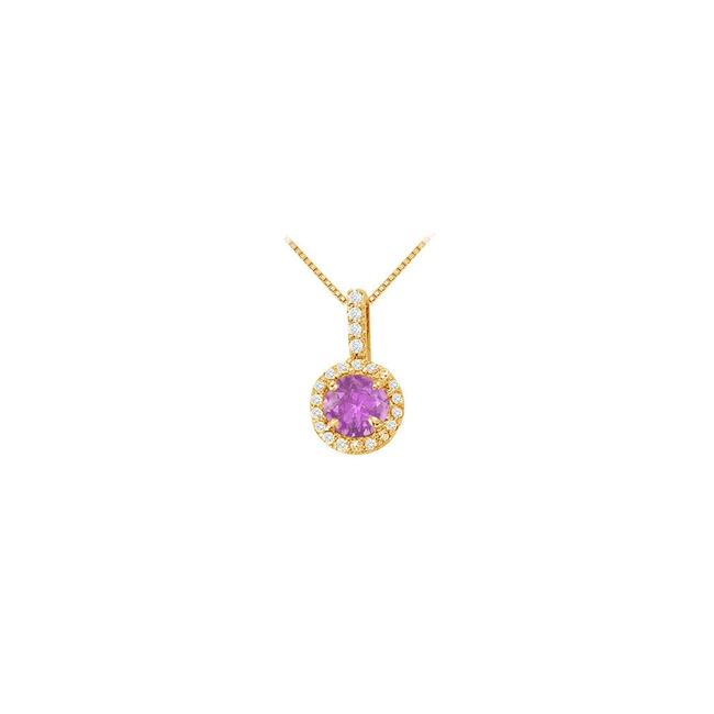 Purple Yellow Fancy Round Amethyst and Cubic Zirconia Halo Pendant In Gold Necklace Purple Yellow Fancy Round Amethyst and Cubic Zirconia Halo Pendant In Gold Necklace Image 1