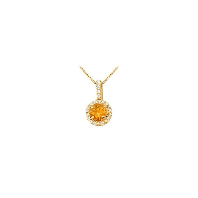 Yellow Silver Fancy Round Citrine and Cubic Zirconia Halo Pendant In 14k Gold Necklace Yellow Silver Fancy Round Citrine and Cubic Zirconia Halo Pendant In 14k Gold Necklace Image 1