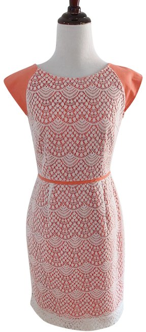 Alex Marie Ivory and Coral Lace Pencil Mid-length Work/Office Dress Size Petite 2 (XS) Alex Marie Ivory and Coral Lace Pencil Mid-length Work/Office Dress Size Petite 2 (XS) Image 1