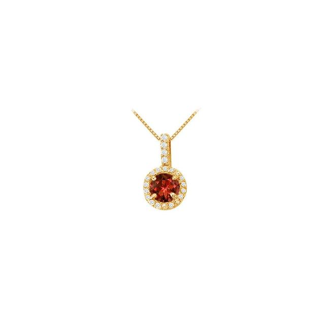 Red Yellow Round Garnet and Cubic Zirconia Fashion Halo Pendant Necklace Red Yellow Round Garnet and Cubic Zirconia Fashion Halo Pendant Necklace Image 1