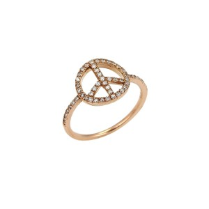 Other Diamond Peace Sign 14k Rose Gold Ring