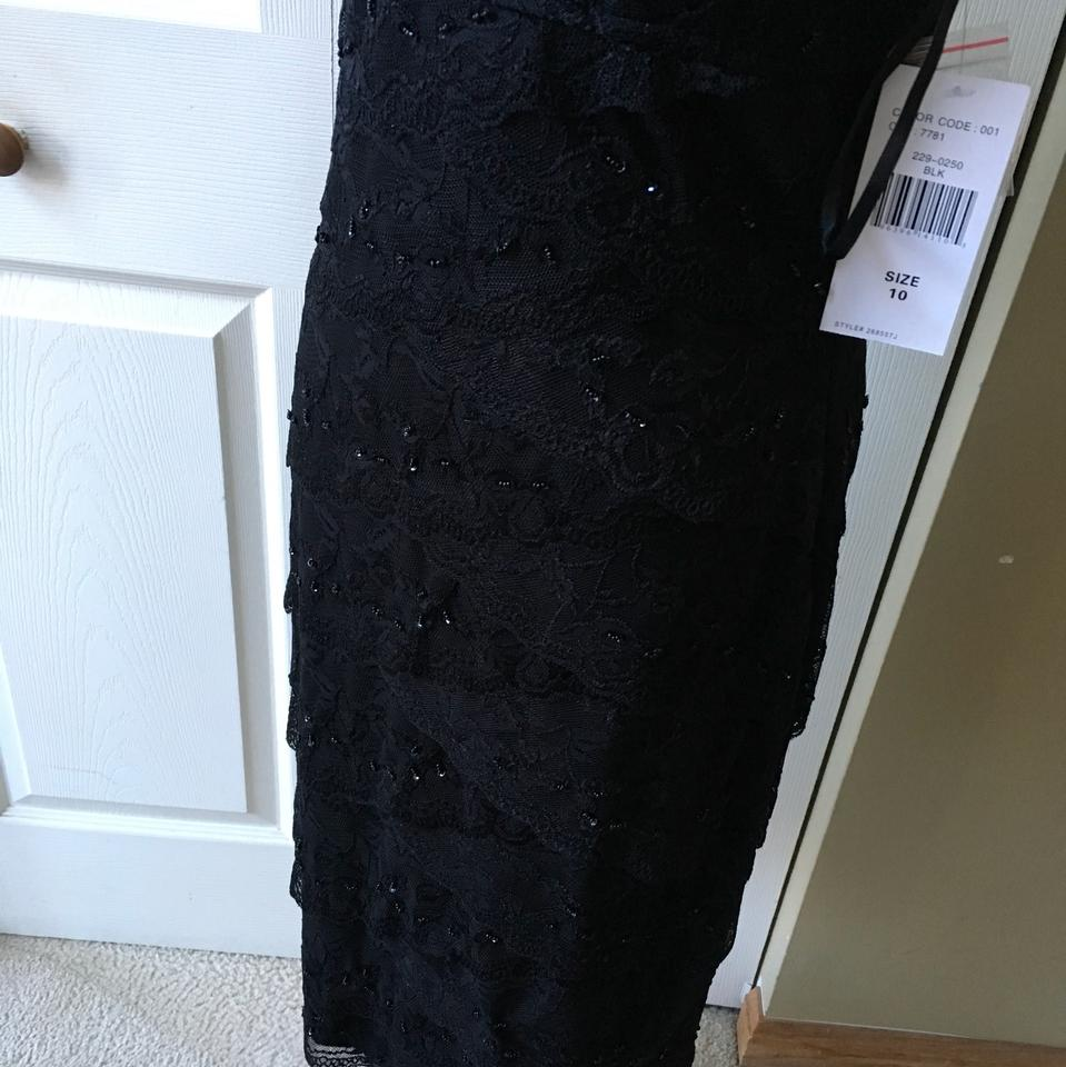 Blu Sage Black Lace Sequins Mid-length Cocktail Dress Size 10 (M) - Tradesy 7bf76b671