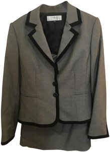 Tahari Gray suit with black trim