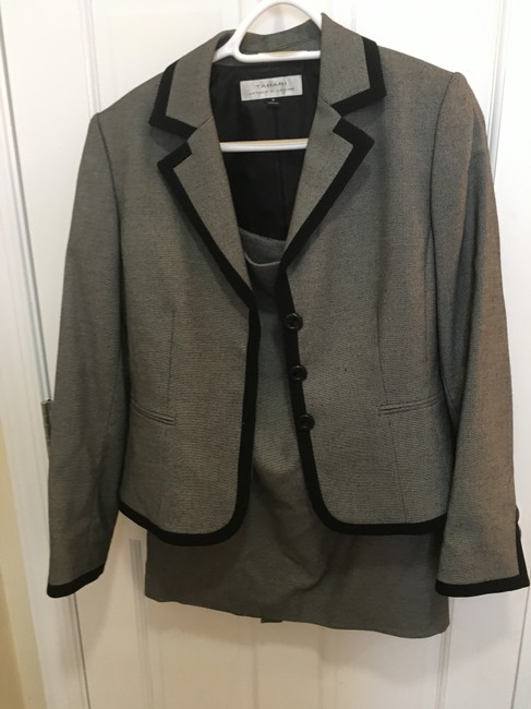 Tahari Gray suit with black trim Image 3