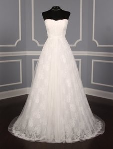 Monique Lhuillier Diamond White Spanish Tulle and Lace Sugar Formal Wedding Dress Size 10 (M)