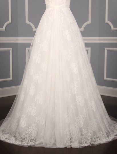Monique Lhuillier Diamond White Spanish Tulle and Lace Sugar Formal Wedding Dress Size 10 (M) Image 3