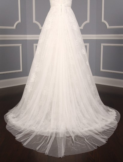 Monique Lhuillier Diamond White Spanish Tulle and Lace Sugar Formal Wedding Dress Size 10 (M) Image 7