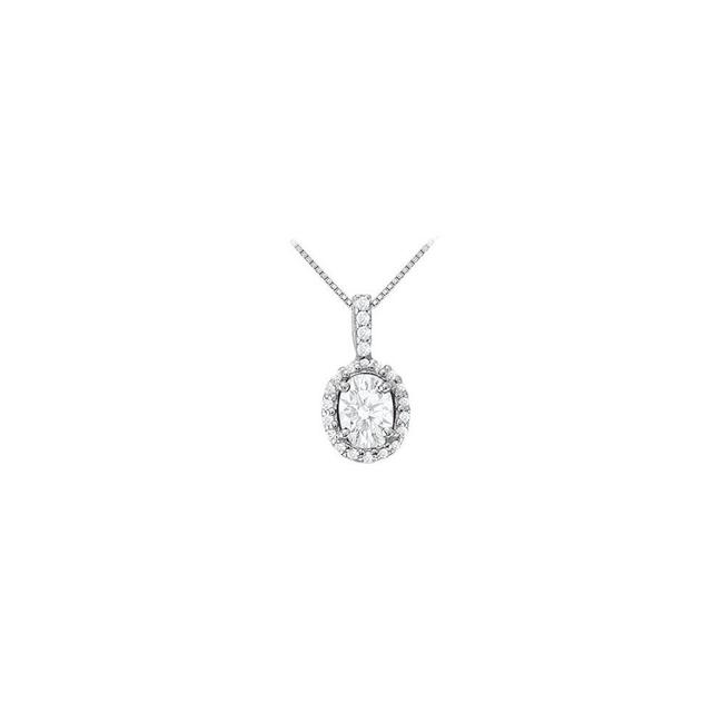 White Silver Fancy Oval Cubic Zirconia Halo Pendant In 925 Sterling 3.00 Ct Necklace White Silver Fancy Oval Cubic Zirconia Halo Pendant In 925 Sterling 3.00 Ct Necklace Image 1