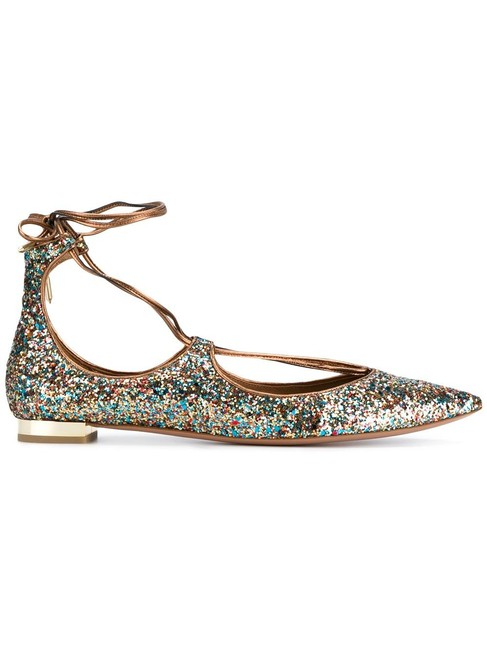 Aquazzura Multicolor Christy Circus Multi Glitter Lace Up Leather Flats Size EU 37.5 (Approx. US 7.5) Regular (M, B) Aquazzura Multicolor Christy Circus Multi Glitter Lace Up Leather Flats Size EU 37.5 (Approx. US 7.5) Regular (M, B) Image 1