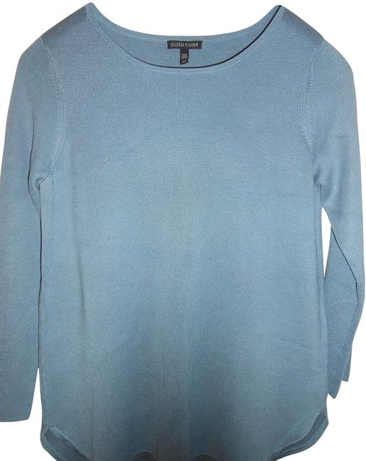 Eileen Fisher Blue Steel Long-sleeve Silk and Cotton Interlock Tunic Size 4 (S) Eileen Fisher Blue Steel Long-sleeve Silk and Cotton Interlock Tunic Size 4 (S) Image 1