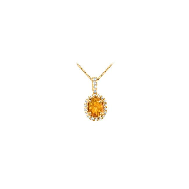 Yellow Silver Fancy Oval Citrine and Cubic Zirconia Halo Pendant In 14k Gold Necklace Yellow Silver Fancy Oval Citrine and Cubic Zirconia Halo Pendant In 14k Gold Necklace Image 1
