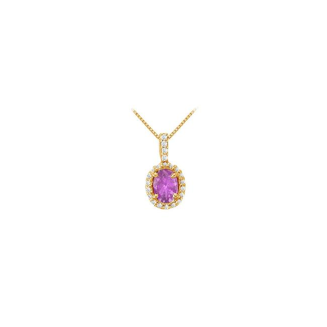 Purple Yellow Fancy Oval Amethyst and Cubic Zirconia Halo Pendant In Gold Vermeil Necklace Purple Yellow Fancy Oval Amethyst and Cubic Zirconia Halo Pendant In Gold Vermeil Necklace Image 1