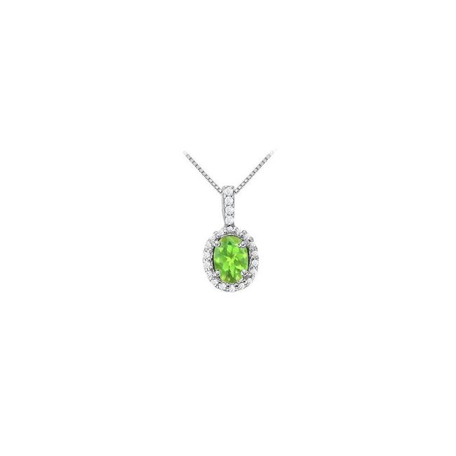 Green Silver Fancy Oval Peridot and Cubic Zirconia Halo Pendant In 925 Sterling Necklace Green Silver Fancy Oval Peridot and Cubic Zirconia Halo Pendant In 925 Sterling Necklace Image 1