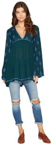 Free People Longsleeve V-neck Cut-out Embroidered Tunic