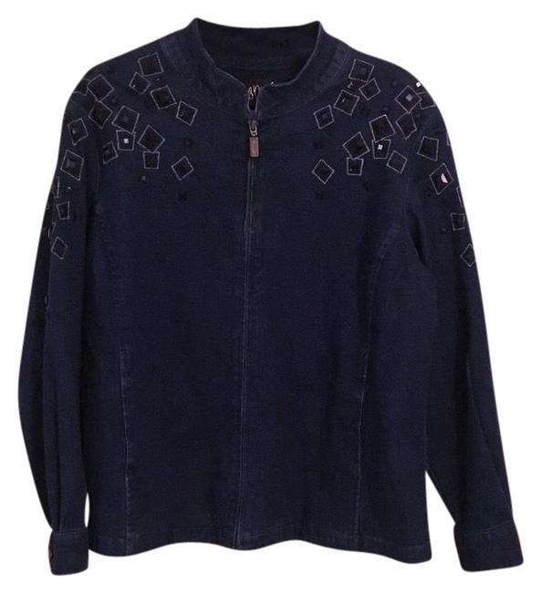 Preload https://img-static.tradesy.com/item/22604104/bob-mackie-navy-blue-embellished-jeweled-jean-denim-jacket-size-20-plus-1x-0-1-650-650.jpg
