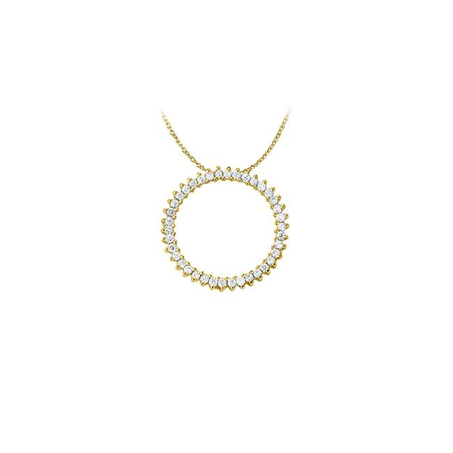 White Yellow Cubic Zirconia Circle Pendant In Gold Vermeil Cute Necklace White Yellow Cubic Zirconia Circle Pendant In Gold Vermeil Cute Necklace Image 1
