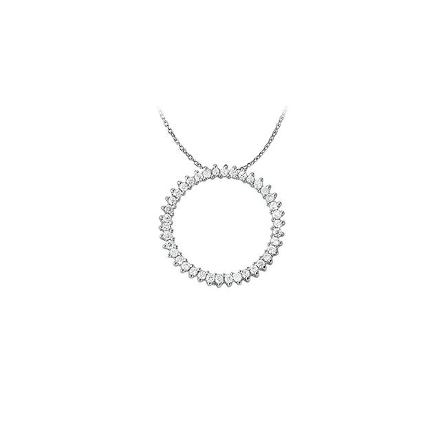 White Silver Lovely Cubic Zirconia Circle Pendant 925 Sterling with Cute Fre Necklace White Silver Lovely Cubic Zirconia Circle Pendant 925 Sterling with Cute Fre Necklace Image 1