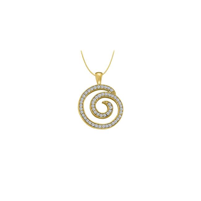 White Yellow Cubic Zirconia Circle Fashion Pendant In Gold Vermeil Over Sterling Si Necklace White Yellow Cubic Zirconia Circle Fashion Pendant In Gold Vermeil Over Sterling Si Necklace Image 1