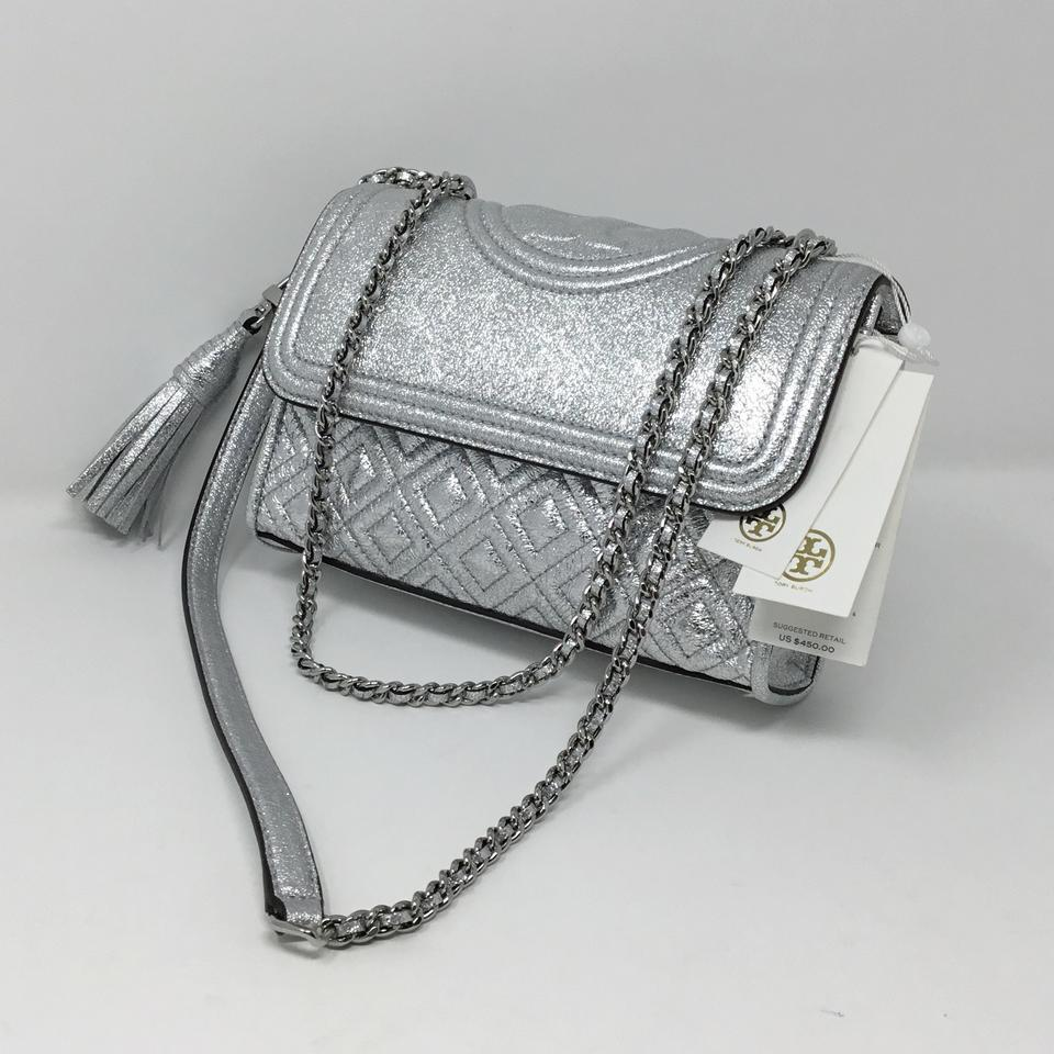b97f1371acbf Tory Burch Fleming New Convertible Shoulder Silver Leather Cross ...