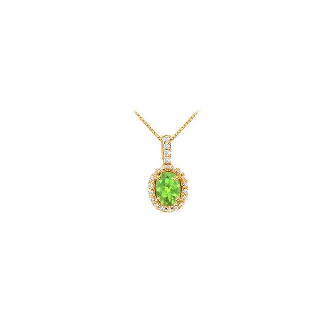 Green Yellow Fancy Oval Peridot and Cubic Zirconia Halo Pendant In Gold Vermeil Ove Necklace Green Yellow Fancy Oval Peridot and Cubic Zirconia Halo Pendant In Gold Vermeil Ove Necklace Image 1