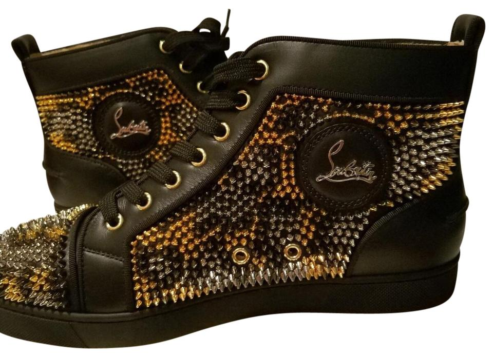 879aa8b8757 Christian Louboutin Black with Multicolor Spikes Louis Leo Calf Leather  Sneakers. Size  US 9 ...