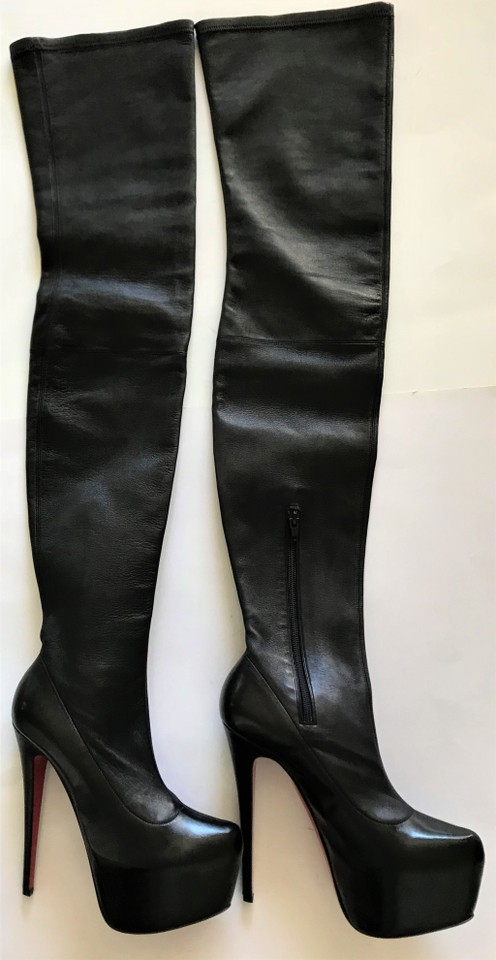 wholesale dealer e6699 3b736 Christian Louboutin Black New Monicarina 39 It Platform Thigh High Over  Knee Heel Red Lady Daf Boots/Booties Size US 9 Regular (M, B)