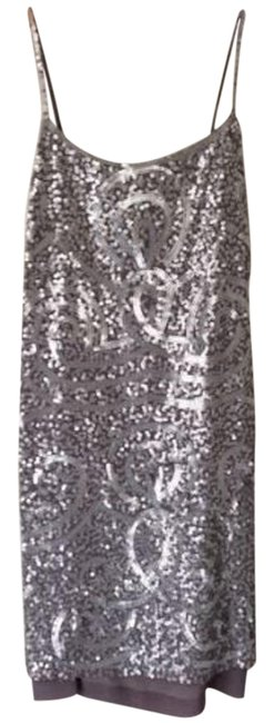Item - Silver Sequin Gatsby Sheath Short Night Out Dress Size 8 (M)