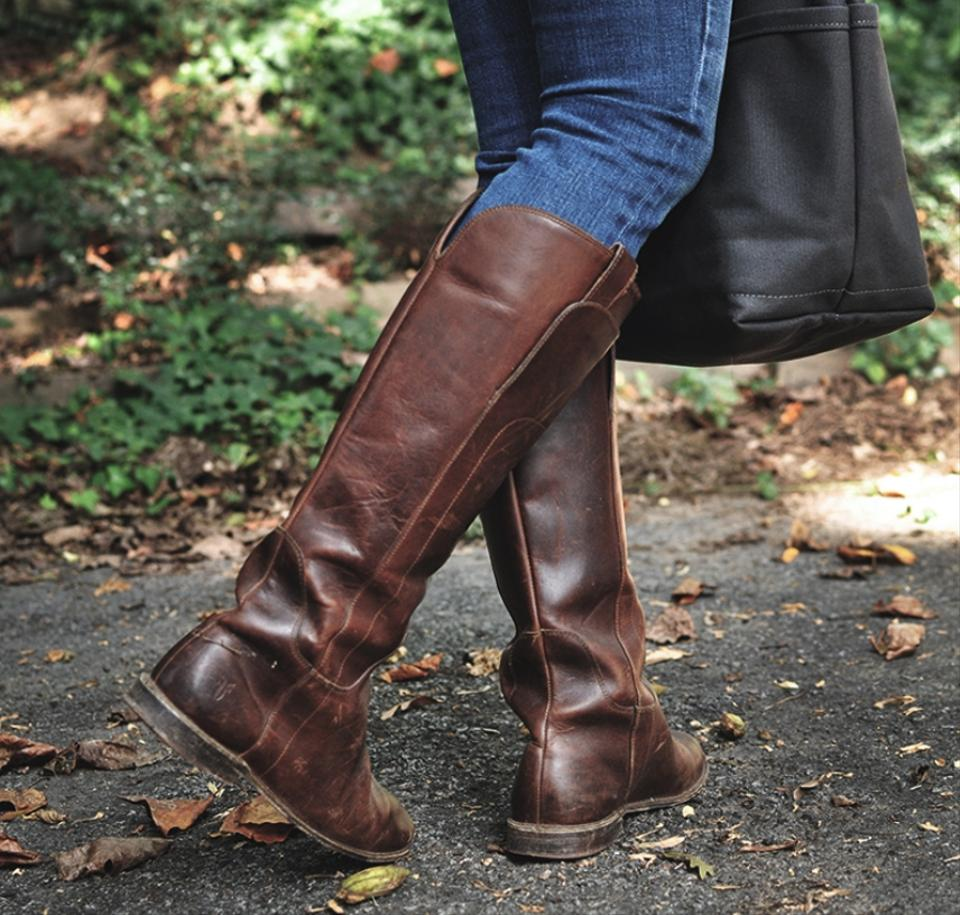 02d11e9beb50 Frye Dark Brown Paige Tall Riding Cognac Antiqued Leather Boots ...
