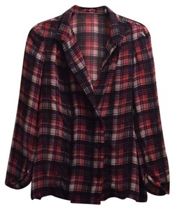 Patterson J. Kincaid Top red and black plaid