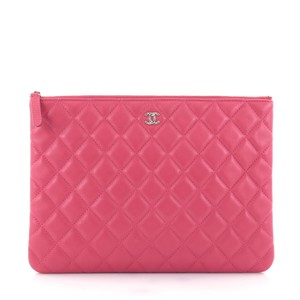 Chanel Case Lambskin Pink Clutch