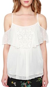 Anthropologie Embroidered Stretchy Blue Floral Summer Top ivory