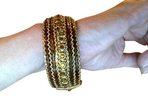 Chico's Chico's Bronze Beaded Hinged Bangle Cuff Bracelet