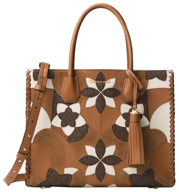 Item - Mercer Large Floral Patchwork Brown Acorn Patent Leather Tote