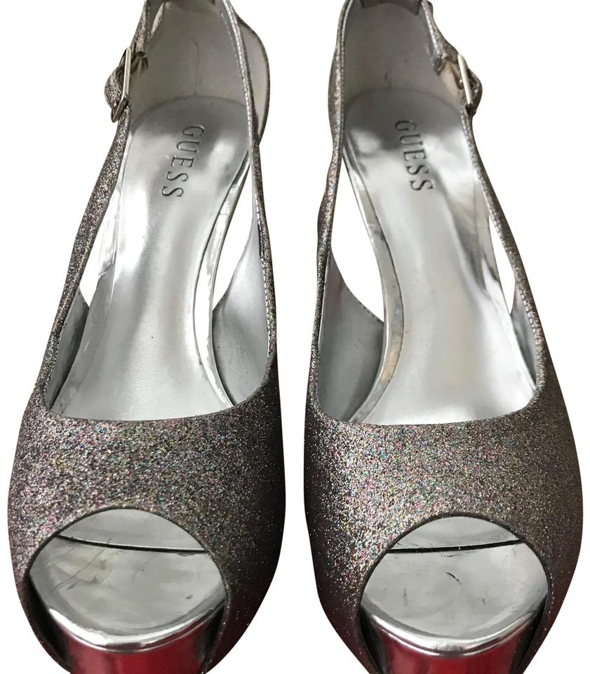 5583825859fd24 Guess Gold Silver Glitter and Silver Heel Multi-texture Sandal Platforms
