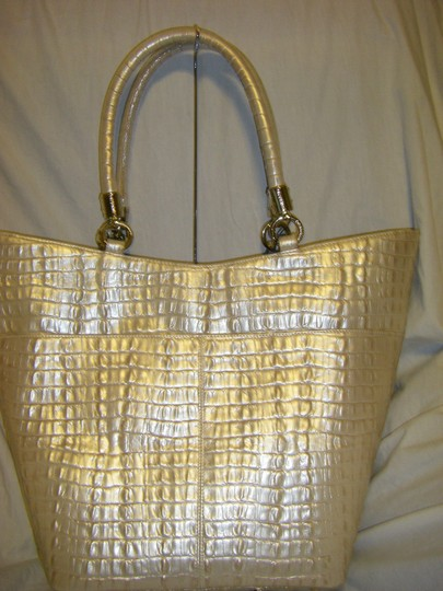 "Brahmin Sweetheart Shimmer La Scala K40626hh. Shimmer Is A Light With An Iridescent Finish Tapered Shape 17""Long At Top 12"" Tote in BEIGE"