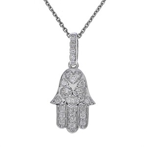 Avital & Co Jewelry 0.25 Carat Round Diamond Hamsa Hand of God Pendant Necklace 14K White