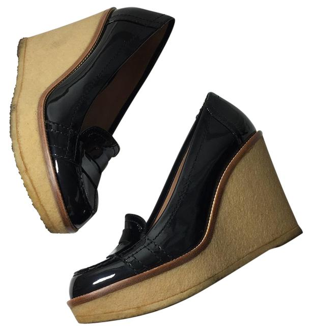 Item - Black Ysl Patent Leather Loafers Wedge Platforms Size EU 38 (Approx. US 8) Regular (M, B)