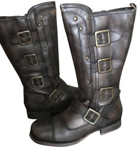 Diba Leather Moto Zip Brown Distressed Boots