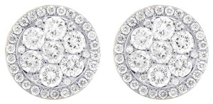 Jewelry Unlimited 14K Yellow Gold Real Diamond Round Cluster Studs Earring 1.5ct
