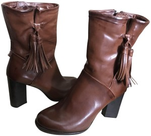 A.S. 98 High Heeled Ankle Leather Zip Cocoa Boots