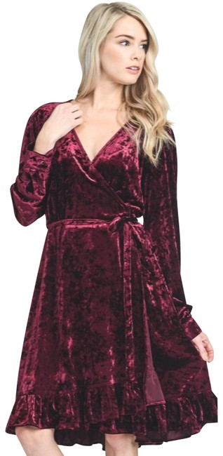 Item - Burgundy Crushed Velvet Wrap New S Holiday Party Nye Mid-length Night Out Dress Size 4 (S)